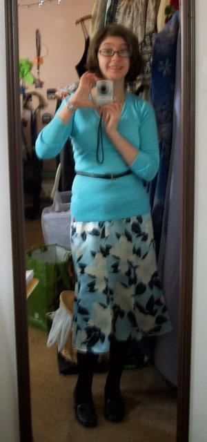 Blue sweater, flowered skirt, and a DIY belt